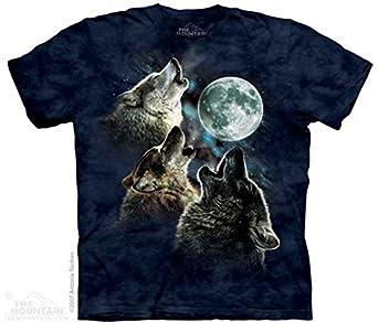The Mountain Three Wolf Moon Short Sleeve Tee, Blue Danger, S