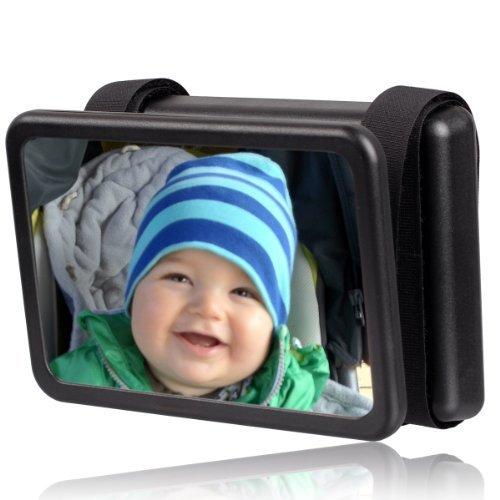 Wicked Chili Baby Spiegel Easy View - Rückspiegel für Babyschalen Zusatzspiegel (Made in Germany, drehbar / schwenkbar/ neigbar 140 x 88 mm) schwarz