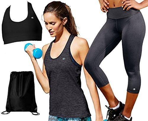 Kamal Ohava Absolute Workout Bundle by Champion- 4 Items, Top: XL / Bottom: L, Granite Heather