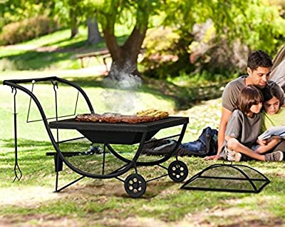 Portable Metal Fire Pit And Bbq Integrated Log Rack With Fire Guard Camping Outdoor