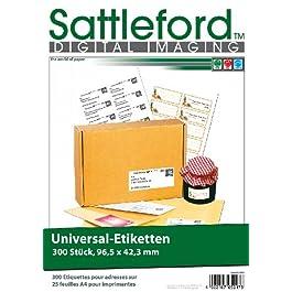 Sattleford lot de 300 étiquettes d'96,5 x 42,3 mm pour imprimante laser et jet d'encre