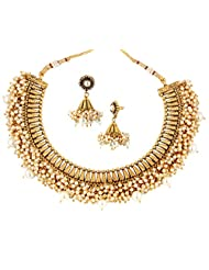 YoFashion Festive Choker 22K Gold Plated Pearl Necklace Earring Set For Women