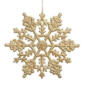 36pcs Plastic Glitter Snowflake,10cm,Gold,36 Per Package