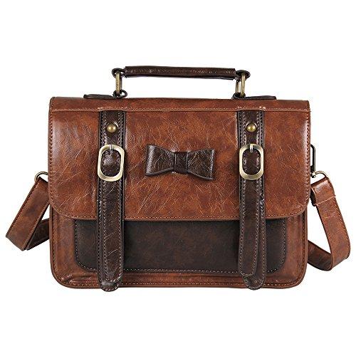 Ecosusi Vintage Leather Messenger Bag Women Crossbody Satchel Bag Briefcase (Coffee) image