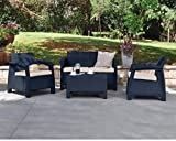 Keter Corfu Garden Furniture Set (2 Armchairs, Sofa and Table) with Cushions