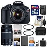 Canon EOS Rebel T5 Digital SLR Camera Body & EF-S 18-55mm IS & 75-300mm III Lens with 32GB Card + Case + Battery & Charger + Filters + Kit