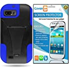 CoverON® ZTE Fury / Director / Valet Kickstand Hard + Soft Dual Layer Hybrid Case Cover Bundle with Clear Anti-Glare LCD Screen Protector - Black Plastic Blue Silicone