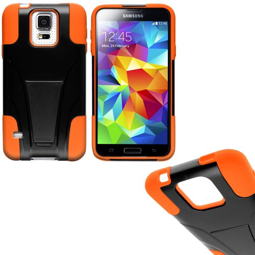 Mylife (Tm) Vibrant Orange And Dark Coal Black - Neo Hybrid Series (Built In Kickstand) 2 Piece + 2 Layer Case For New Galaxy S5 (5G) Smartphone By Samsung (External Hard Fit Armor With Built In Kick Stand + Internal Soft Silicone Rubberized Flex Gel Bump