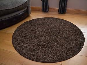 Runder Plain Dark Brown Circular Shaggy Pile Rug. Size 100cm Diameter by Rugs Supermarket