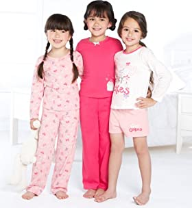 3 Pack - Younger Girls' Pure Cotton Assorted Pyjamas