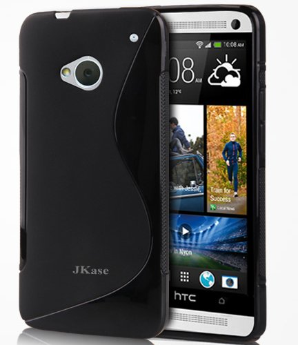 Jkase Premium Quality Ultra Slim Streamline Series Tpu Protective Case Cover - Retail Packaging (Htc One (M7), Black)
