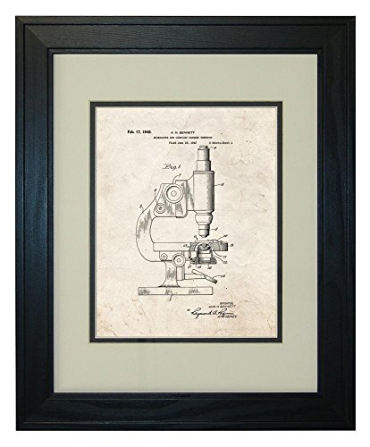 "Microscope And Counting Chamber Patent Art Old Look Print In A Solid Pine Wood Frame (11"" X 14"")"