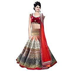 London Beauty Brocade & Georgette Lehenga Saree(LBC003003_OFF WHITE & RED)