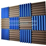 2x12x12 (12 Pack) BLUE/CHARCOAL Acoustic Wedge Soundproofing Studio Foam Tiles