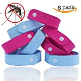 Mosquito Repellent Bracelet (8-Pack) by TantiQ - Safe, Natural Pest Control - DEET Free Indoor or Outdoor Insect Control - Kid Safe Insect Repellant - Waterproof, Adjustable Design