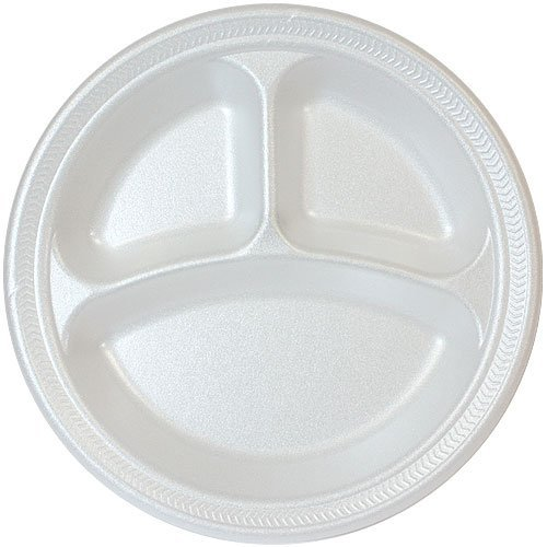 10-inch White Foam Fast Food Plate 3 Compartment Divided Lunch Plate, Dinner Plate, Appetizer Plate, - 100 Count (Foam Dinner Trays compare prices)