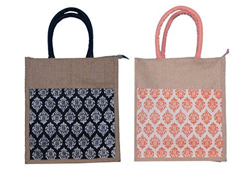 ABV Lunch Bag, Jute Bag, Gift Bag, Multi Purpose Bag, Combo Of Black And Peach Printed Bag-Pack Of 2 With Zip