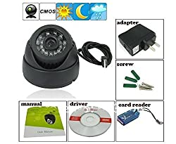 FINICKY WORLD (TM) CCTV Dome 24 IR Night Vision Camera DVR with Memory Card Slot Recording (USB) + 2 Years Warranty