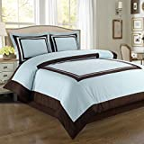 Deluxe Reversible Hotel Duvet Cover Set, 100% Egyptian Cotton 300 Thread Count Bedding, woven with superior single-ply yarn. 3 piece King / California King Size Duvet Cover Set, Blue and Chocolate