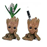 BABEE Baby Groot Flowerpot Figure Toy Baby Groot Antistress Guardians 2 Tree Man Pen Container Baby Room Decor (Flowerpot Groot with hole for drainage)