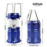 Camping Lantern - LED Solar Rechargeable Camp Light Flashlights - Emergency Lamp - Power Bank for Android Cell Phone IOS Iphone - Blue