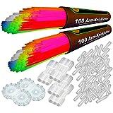200 Premium Arm-Knicklichter knallbunt - 7-farbiges Komplett-Set mit umfangreichem Zubehör