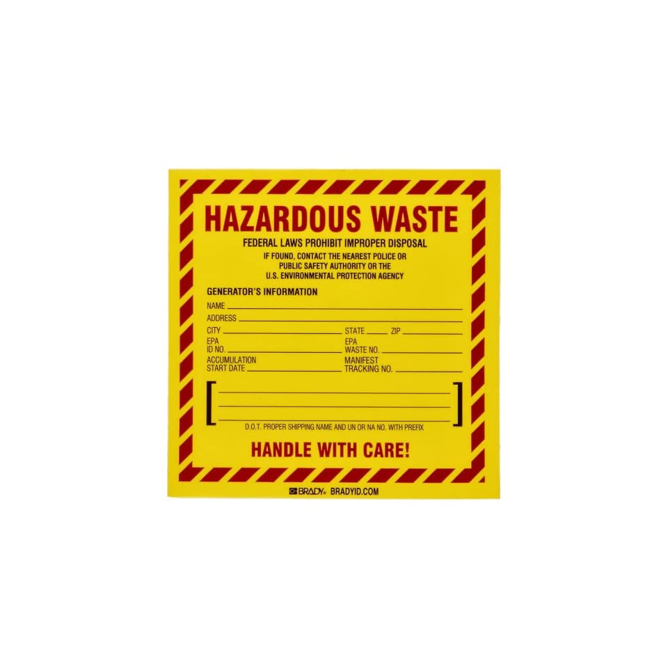 Brady 60448 6 Height, 6 Width, B 933 Vinyl, Red And Black On Yellow Color Hazardous Waste Label (Pack Of 100)