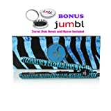 HerStyler Flat Iron 100% 1.5 Inch Onyx Ceramic Plates, Simple On/off Switch, Ultra Lightweight; High-strength Composite Materials That Are Commonly Used in the Aerospace Industry, Ideal for All Your Hairstyle Needs. Straighten, Curl, Wave, Smooth, Spiral, and Flip, ( Blue Zebra ) *bonus* Travel Size Jumbl Brush and Mirror Included