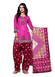 SayShopp Fashion Women's Unstitched Regular Wear Cotton Printed Salwar Suit Dress Material (ZDM-34_Pink,Red_Free Size)