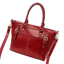 SHENGXILU Women\'s PU Leather Handbag Wine Red