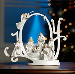 #!Cheap Lighted Joy Nativity Scene Holiday Sculpture By Collections Etc