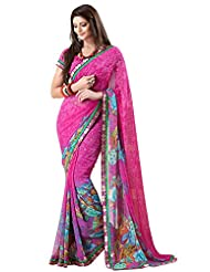 Indian Designer Sari Classy Floral Printed Faux Georgette Saree By Triveni - B00NGFAOUW