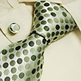 511vD0NjjuL. SL160  Green polka dots mens dress ties silver Valentine gift for him fashion silk tie cufflinks set A1100