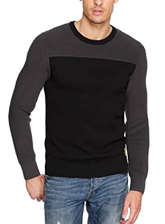 QS by s.Oliver Pull-over Col ras du cou Manches longues Homme - Noir - Schwarz (9999) - FR : X-Large (Taille Fabricant : 52/54)