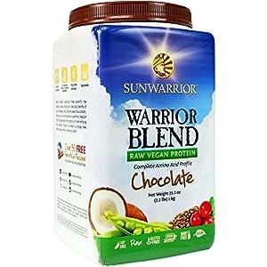 Sunwarrior Warrior Blend Raw Vegan Protein Powder, Chocolate 2.2 lbs