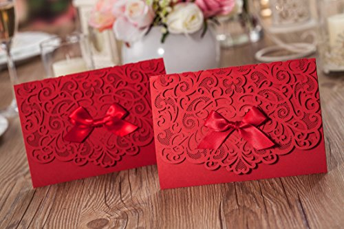 Wishmade 100x Elegant Red Laser Cut Wedding Invitation Cards Kits with Lace Bow Paper Cardstock for Bridal Shower Engagement Birthday Baby Shower Quinceanera(set of 100pcs) 1