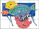 Parrot Fish by Paul Brent Tile Mural for Kitchen Backsplash Bathroom Wall Tile Mural
