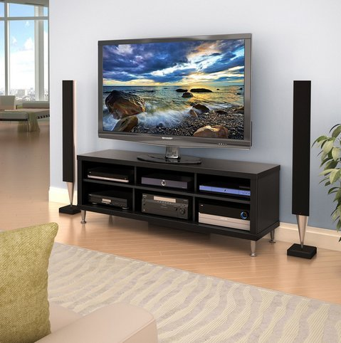 Valhalla Broadway Black 55-inch Flat Screen TV Stand Entertainment Media Center with Shelves