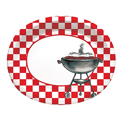 Creative Converting 8 Count Paper Oval Platters, Grillin' Classic