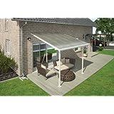 Hochwertige Aluminium Terrassenüberdachung, Terrassendach 300x305 cm (TxB) - weiß