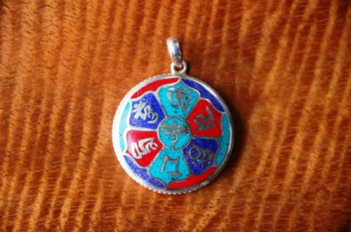 Om Mani Pendant with Inlayed Turquoise Coral Lapis