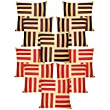 Cross Patti Cushion Covers Combo Beige,Brown/Beige,Red 40 X 40 Cms(10 Pcs Set)