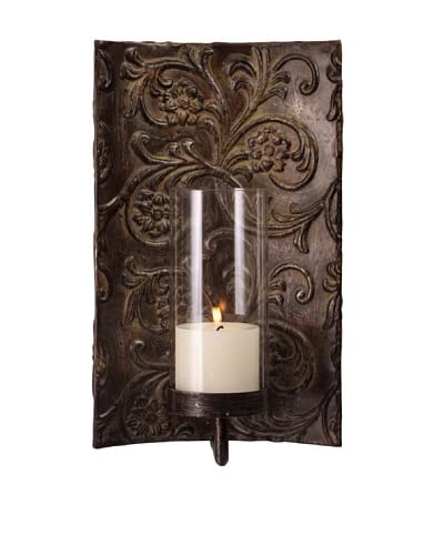 Galicia Embossed Metal and Glass Sconce, Antique Bronze