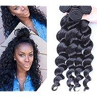 Goood Hair Peruvian Virgin Hair Bundles 4pcs 6a Unprocessed Human Hair Weaves Peruvian Loose Wave Natural Black Rosa Hair Products 50g/ps 4pcs/ Lot -Total 200g (20 20 20 20 Inch)