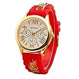 Mujer cuarzo reloj de la jalea dorado silicona reloj para Hombres Unisex negro Navidad feliz cumplea�os regalo - ofertas studyingstore Red A