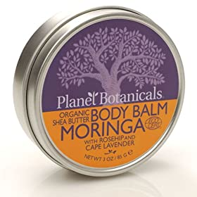 Planet Botanicals ECOCERT Organic East African Shea Butter Body Balm, Moringa with Rosehips and Cape Lavender, 3.0-Ounce Jar