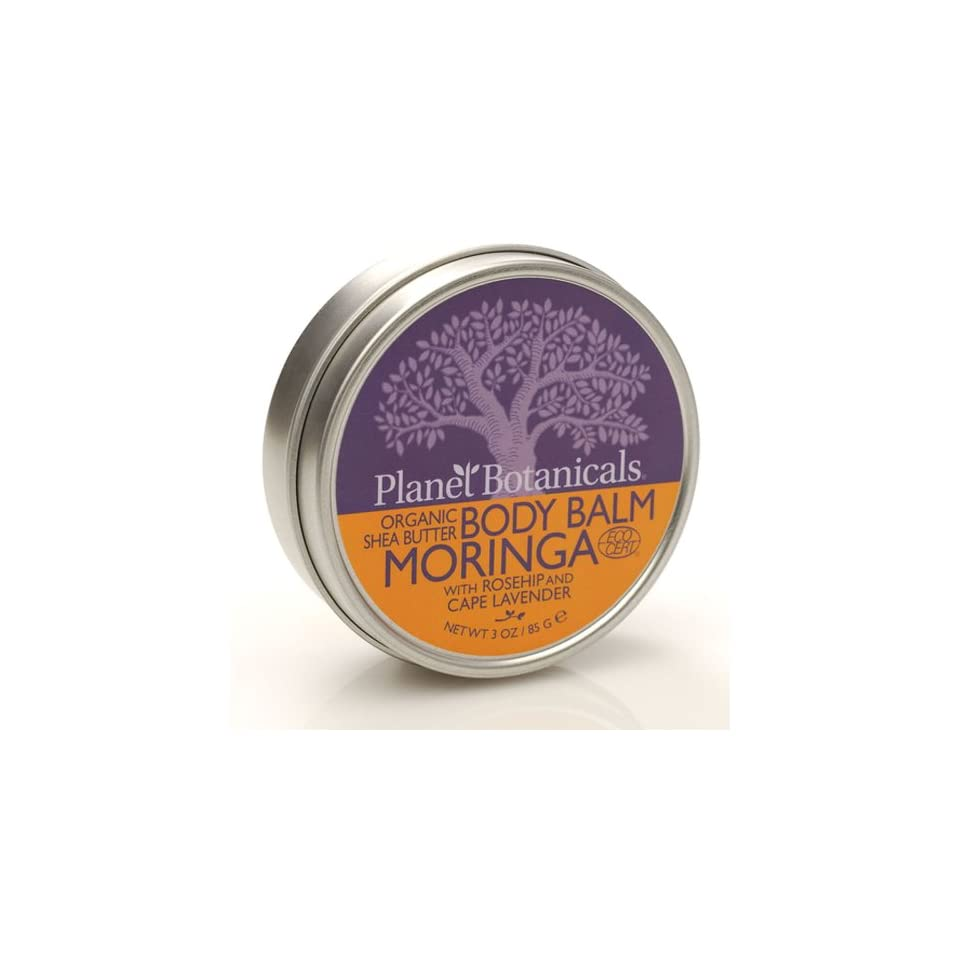 Planet Botanicals ECOCERT Organic East African Shea Butter Body Balm, Moringa with Rosehips and Cape Lavender, 3.0 Ounce Jar