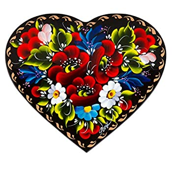 Floral Style Heart-Shaped Lacquer Wooden Jewelry Box