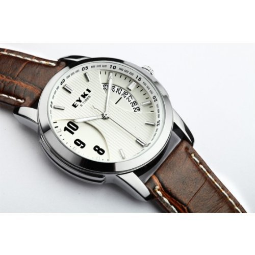 Eyki E-Times Leather Quartz Lover'S Watch Male White & Coffee By Anlo