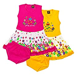 ELK Kids Girls Cotton Pink and Yellow Frock With Bottom Combo Set